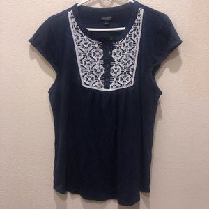 Lucky Brand - Blue & White Casual Top
